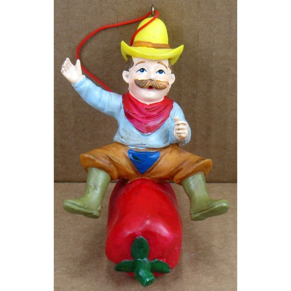 Unbranded Other - NEW Christmas Ornament Cowboy Riding Chili Pepper